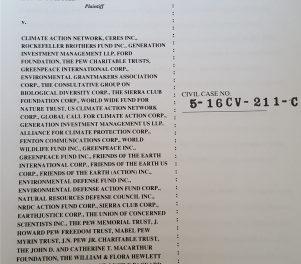 Klimaskeptiker reicht im Rahmen des RICO Klage ein gegen fast alle NGOs mit Klimabezug sowie einige Individuen