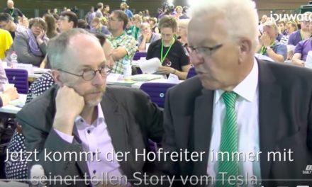 E-Auto Diskussion Ministerpräsident Kretschmann auf dem Bundesparteitag der Grünen am 24.6.2017 in Berlin