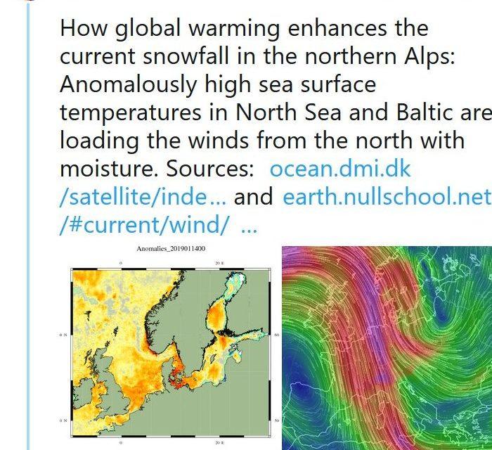 Stefan Rahmstorf: Die Nordsee war um 1-2°C wegen des Klimawandels zu warm, deshalb brachten Nordwinde Schneerekorde!