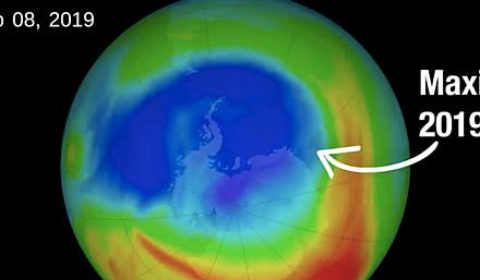 Das Ozonloch schrumpft im Oktober 2019 auf die kleinste Größe seit 1982