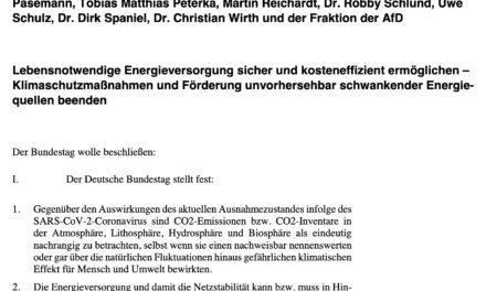 """Energiewende beenden, """"Klimaschutz""""-maßnahmen stoppen : Vorschläge der AfD im Bundestag"""