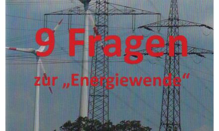 """Neue Broschüre: 9 Fragen zur """"Energiewende"""" von Horst-Joachim Lüdecke"""