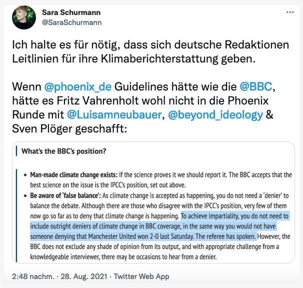 """Reaktionen zur Phoenix-Talkshow mit Fritz Vahrenholt: """"Richtlinien für Klimaberichterstattung nötig!"""""""